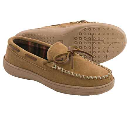 Clarks Plaid Suede Moccasins - Fleece Lined (For Men) in Cinnamon - Closeouts