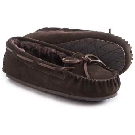 Clarks Plush Moc Slippers - Suede (For Women) in Brown Suede - Closeouts