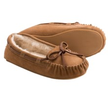 Clarks Plush Moc Slippers - Suede (For Women) in Cinnamon - Closeouts