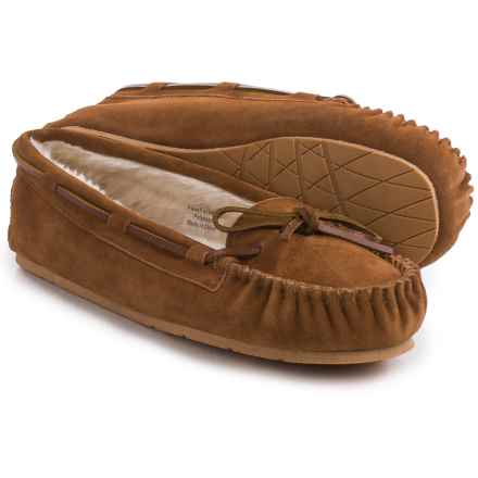 Clarks Plush Moc Slippers - Suede (For Women) in Cognac Suede - Closeouts