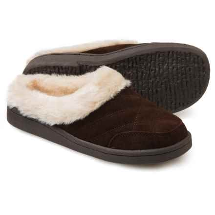 Clarks Quilted Clog Slippers - Suede (For Women) in Brown - Closeouts