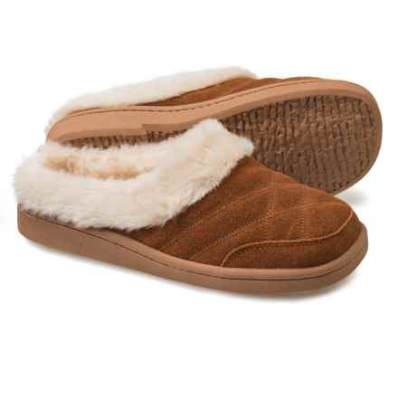 Clarks Quilted Clog Slippers - Suede (For Women) in Cognac - Closeouts