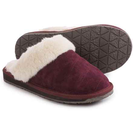 Clarks Quilted Scuff Slippers - Suede (For Women) in Burgundy Suede - Closeouts