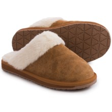 Clarks Quilted Scuff Slippers - Suede (For Women) in Cognac Suede - Closeouts