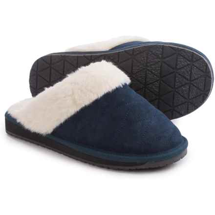 Clarks Quilted Scuff Slippers - Suede (For Women) in Navy Suede - Closeouts