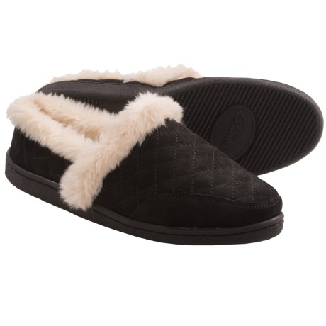 Clarks Quilted Suede Slippers (For Women) in Black Suede