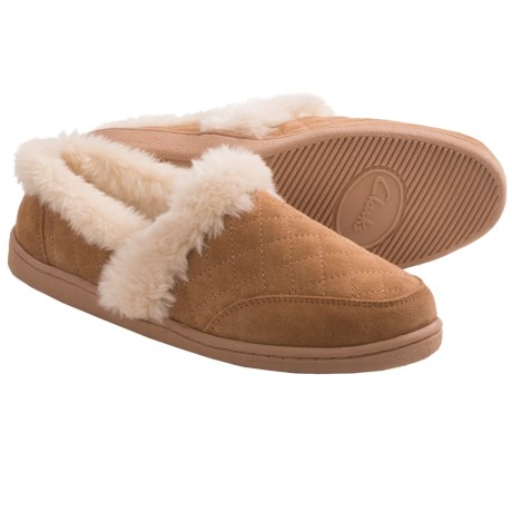 Clarks Quilted Suede Slippers (For Women) in Cinnamon/Natural