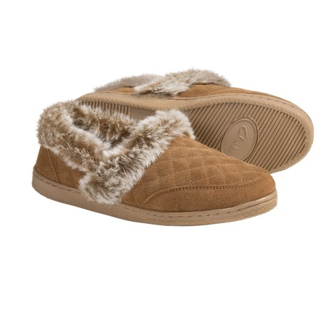 Clarks Quilted Suede Slippers (For Women) in Cinnamon