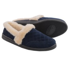 Clarks Quilted Suede Slippers (For Women) in Navy - Closeouts