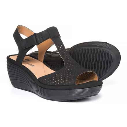 Clarks Reedly Waylin Wedge Sandals - Leather (For Women) in Black - Closeouts