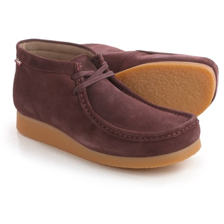 Clarks Stinson Hi Chukka Boots - Leather (For Men) in Bordeaux Suede