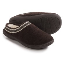Clarks Stitched Clog Slippers (For Women) in Brown Flannel - Closeouts