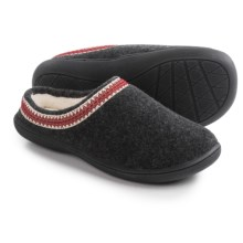 Clarks Stitched Clog Slippers (For Women) in Charcoal Flannel - Closeouts
