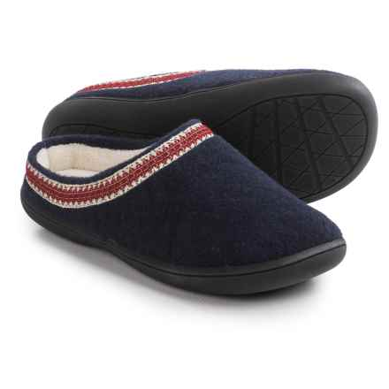 Clarks Stitched Clog Slippers (For Women) in Navy Flannel - Closeouts