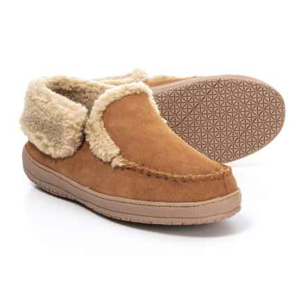 Clarks Suede Moc Slippers - Fleece Lined (For Men) in Cinnamon - Closeouts