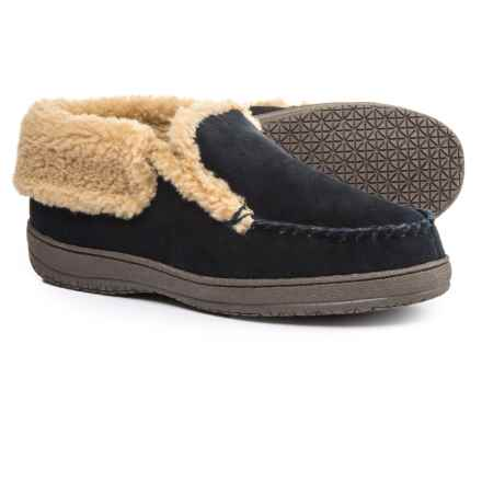 Clarks Suede Moc Slippers - Fleece Lined (For Men) in Navy - Closeouts
