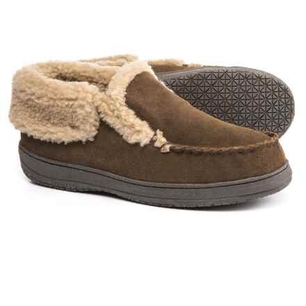Clarks Suede Moc Slippers - Fleece Lined (For Men) in Sage - Closeouts