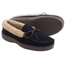 Clarks Suede Moccasin Slippers - Fleece Lined (For Men) in Navy - Closeouts