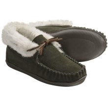 Clarks Suede Moccasin Slippers (For Women) in Olive - Closeouts