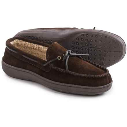 Clarks Suede Moccasins - Sherpa Lined (For Men) in Brown Suede - Closeouts