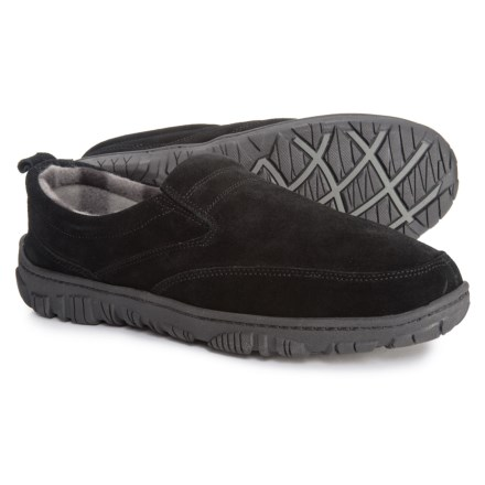 5702b7240274 Clarks Suede Twin-Gore Slippers (For Men) in Black - Closeouts