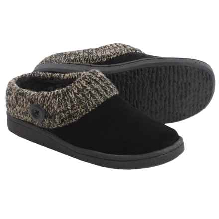 Clarks Sweater Button Clog Slippers - Suede (For Women) in Black - Closeouts