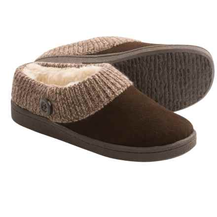 Clarks Sweater Button Clog Slippers - Suede (For Women) in Brown Suede - Closeouts