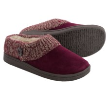 Clarks Sweater Button Clog Slippers - Suede (For Women) in Burgundy - Closeouts