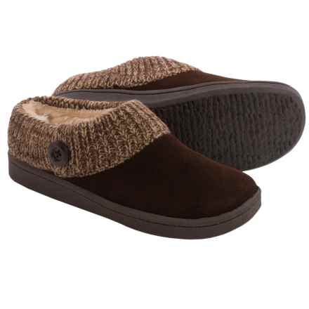 Clarks Sweater Button Clog Slippers - Suede (For Women) in Dark Brown - Closeouts