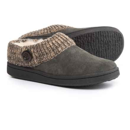 Clarks Sweater Button Clog Slippers - Suede (For Women) in Gray - Closeouts