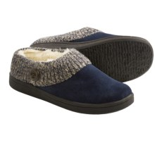 Clarks Sweater Button Clog Slippers - Suede (For Women) in Navy Suede - Closeouts