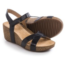 Clarks Temira Compass Wedge Sandals (For Women) in Black Leather - Closeouts