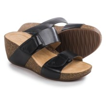 Clarks Temira East Wedge Sandals (For Women) in Black Leather - Closeouts