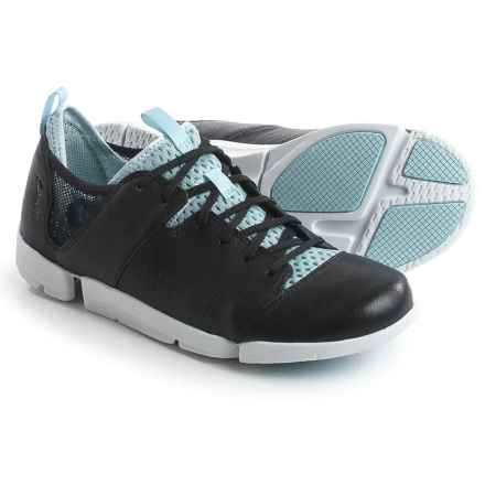 Clarks Tri Active Sneakers - Nubuck (For Women) in Black Leather - Closeouts