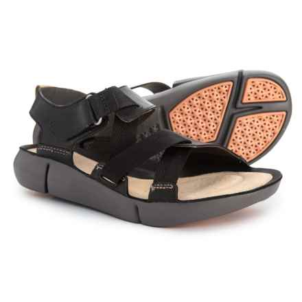 Clarks Tri Clover Sandals - Leather (For Women) in Black Combi