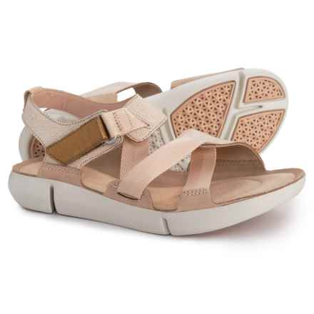 Clarks Tri Clover Sandals - Leather (For Women) in Sand Combi