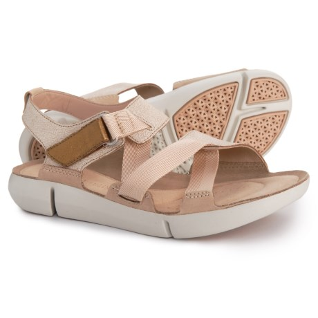 4e6435deac0dc Clarks Tri Clover Sandals - Leather (For Women) in Sand Combi