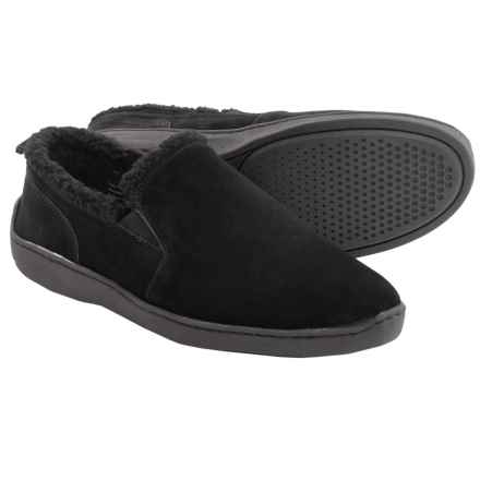 Clarks Twin Gore Suede Slippers (For Men) in Black - Closeouts