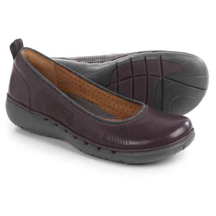 Clarks Un Elita Shoes - Leather, Slip-Ons (For Women) in Aubergine Leather - Closeouts
