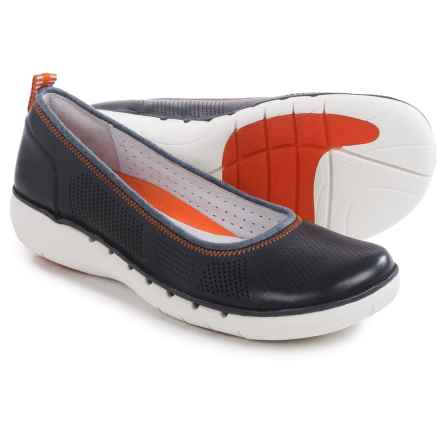Clarks Un Elita Shoes - Leather, Slip-Ons (For Women) in Navy Leather - Closeouts