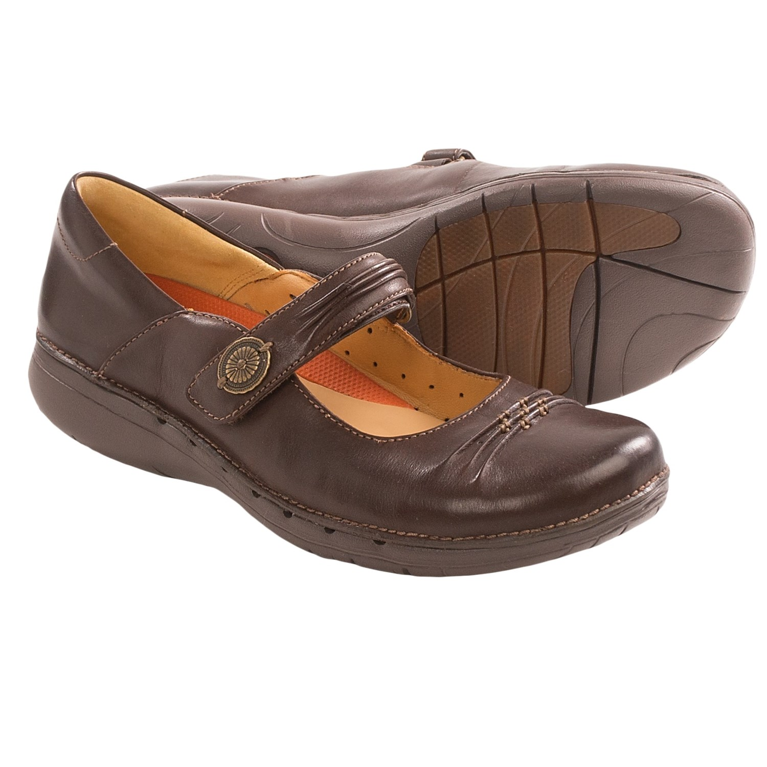 Clarks Un.Linda Mary Jane Shoes (For Women) in Dark Brown Leather