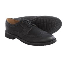 Clarks Wahlton Wingtip Oxford Shoes - Leather (For Men) in Black Tumbled Leather - Closeouts