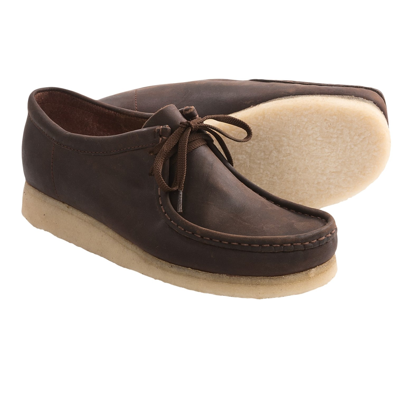 Clarks Wallabee Shoes - Leather (For Men) in Beeswax