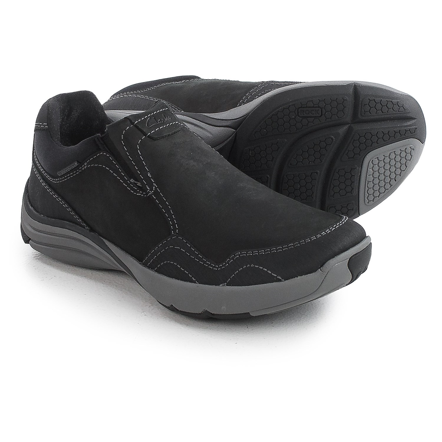 Clarks Wave Voyage Shoes Nubuck Slip Ons For Men In Black