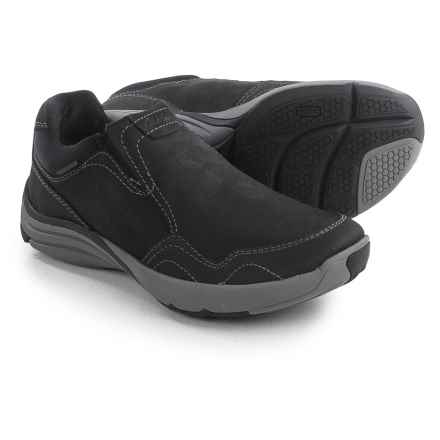 Clarks Wave Voyage Shoes - Nubuck, Slip-Ons (For Men) in Black Nubuck - Closeouts
