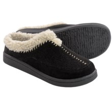 Clarks Whipstitch Clog Slippers - Fleece Lined (For Women) in Black - Closeouts