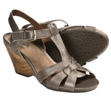 Clarks Woodward Willow Wedge Sandals - Leather (For Women) in Mushroom - Closeouts