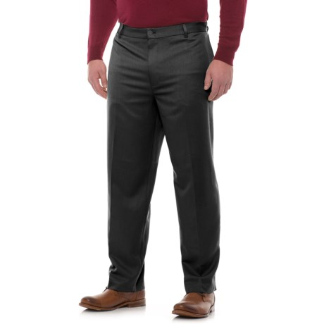 Classic Fit Cotton Flat-Front Pants (For Men) in Charcoal Heather