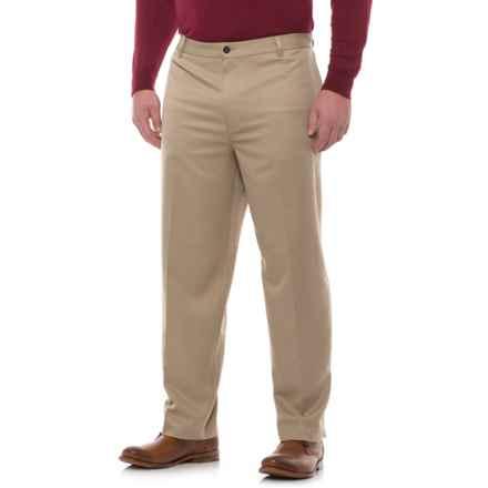 Classic Fit Cotton Flat-Front Pants (For Men) in Khaki - Closeouts