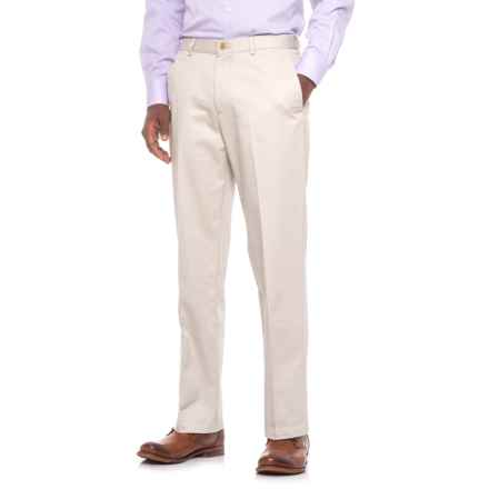 Classic Fit Cotton Flat-Front Pants (For Men) in Natural - Closeouts